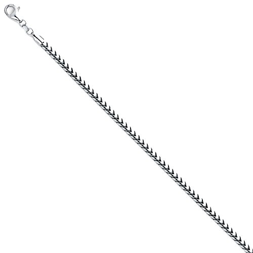 Wellingsale 14k White Gold SOLID 3mm Polished Franco Round Chain Necklace - 26