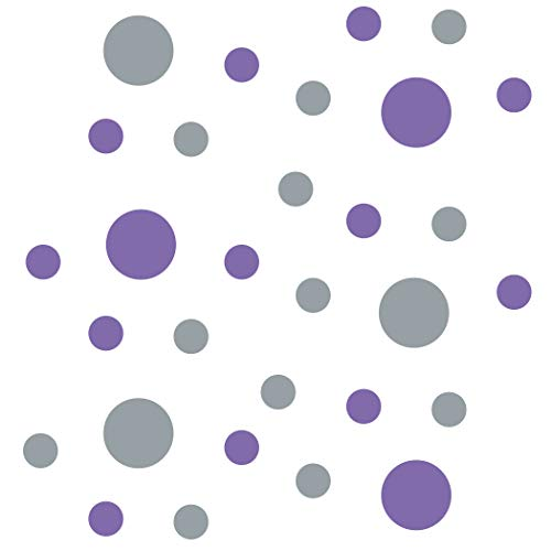 (Set of 30 - Lavender/Metallic Silver Circles Polka Dots Vinyl Wall Graphic Decals Stickers)