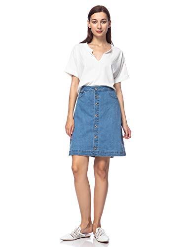 (Anna-Kaci Womens Vintage Stretch Denim Jean Button Flare Skirt with Side Pocket, Mid Blue, Large)