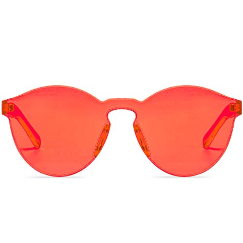 (One Piece Rimless Sunglasses Transparent Candy Color Tinted Eyewear ... (Coral) )