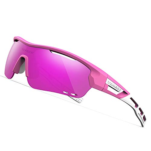 TOREGE Polarized Sports Sunglasses with 3 Interchangeable Lenses for Men Women Cycling Running Baseball Glasses TR33