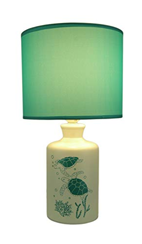 - White and Teal Ceramic Swimming Sea Turtle Table Lamp with Fabric Shade