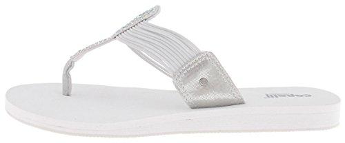 x Suede t-Strap Thong with Rhinestone Trim Ladies Flip Flop Silver White 8 (White Suede Rhinestone)