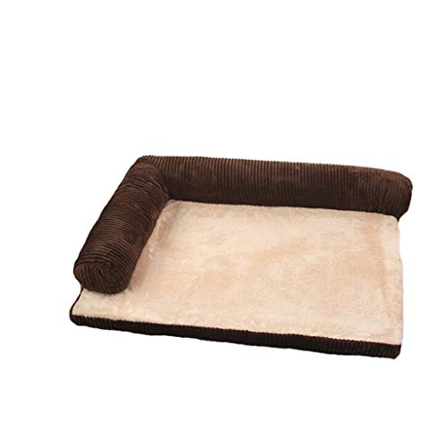 Pet Dog Bed Deluxe L Shaped Chaise Lounge Corner Sofa Pet Bed for Dogs & Cats Available in Multiple Colors & Styles Dog Bed Orthopedic Plush Couch (Color : Brown, Size : 685317cm) ()
