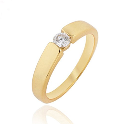 Women 18K Gold Plated Clear Crystal Cubic Zirconia Ring Size 5.25 - 2