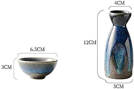 JTSYUXN Set de Sake de 5 Piezas,Diseño Tradicional,Estilo Japonés,Cerámica,Artesanía Retro,Ideal para Sake Japonés (Color : A)
