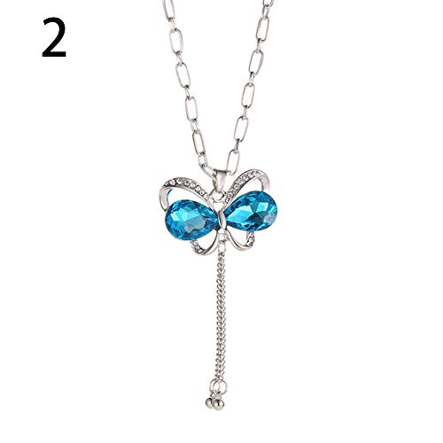 (soAR9opeoF Fashion Women Rhinestone Simulated ButterflyPendant Long Chain Elegant temperament Charm high level necklace chain ring Party wedding Banquet Valentine Birthday Gifts Blue)