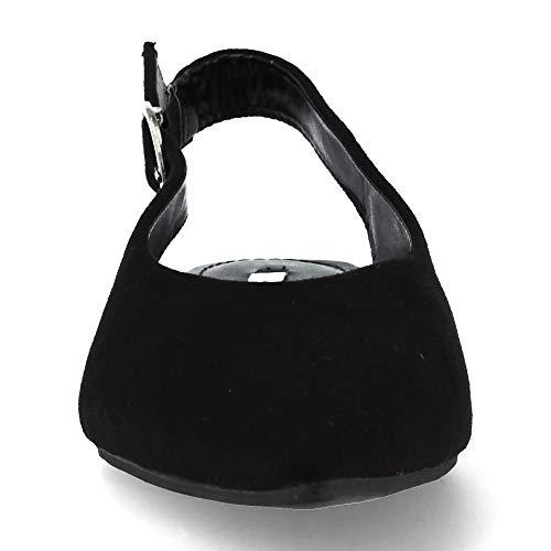 Negro Planos Bajos Salon Zapatos De Fina Punta Mujer Elegantes H7ZBv
