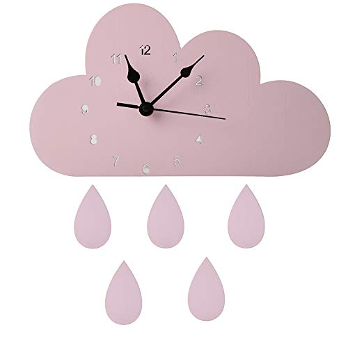 Colorido Nordic Kids Room Decor,Wooden Wall Clock Cloud Raindrop Shaped Hanging Clock Nursery Bedroom Decoration,Novelty Battery Operated Clock Pink