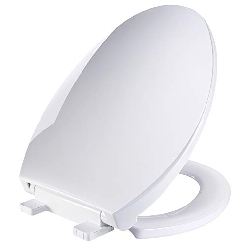 Elongated White Toilet Seat, TECCPO Toilet Seat with Anti-slip 3D Surface, Metal Screw Bolt, Non-slip Seat Bumpers,Safe PP Material Slow-Close Seat Easy to Installation & Clean