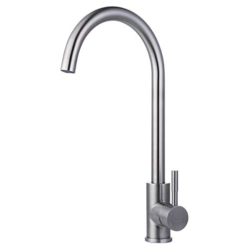 Single Handle Kitchen Sink Faucet Stainless Steel 360 Degree Swivel Hot & Cold Mixer Brushed Nickel One Hole Faucet for Kitchen Sinks