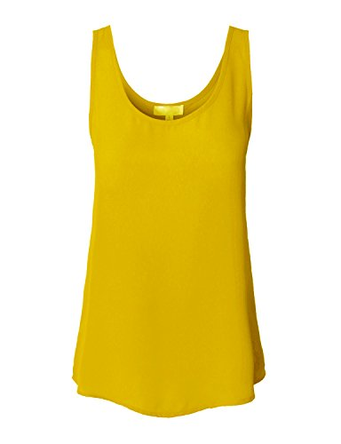 makeitmint Women's Solid Chiffon Sleeveless Tanktop Small - Mustard Chiffon