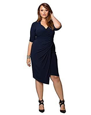 Kiyonna Women's Plus Size Foxfire Faux Wrap Dress