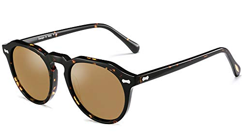Carfia Vintage Polarized Sunglasses for Women UV400 Protection Lens Acetate Frame (A:Tortoise Frame Brown Lens, ()