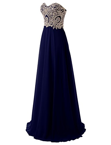 Chiffon Pleat Sweetheart Long Dresses Bridesmaid navy 214 Prom Gowns Evening Blue Sarahbridal wtdqTn8T