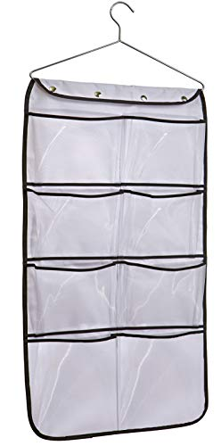 - MISSLO Durable Hanging Closet Double Sided Bra Stocking Clothes Socks Organizer 15 Large Mesh Pockets, White