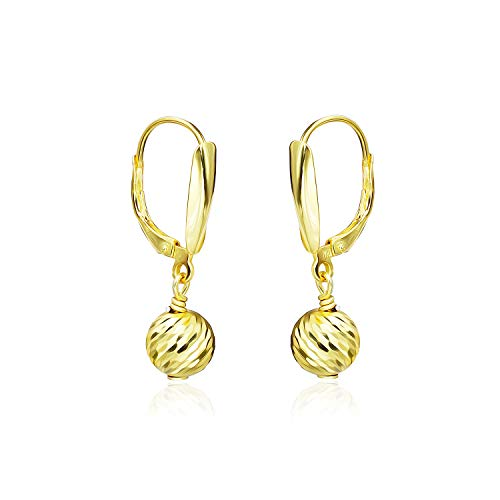 Sterling Silver Diamond Cut Bead - Sea of Ice Yellow Gold Flashed Sterling Silver Diamond-Cut 8mm Ball Beads Leverback Drop Dangle Earrings