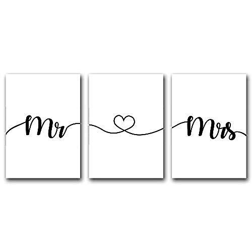 Mr & Mrs Citas Carteles e impresiones Minimalista Lienzo ...