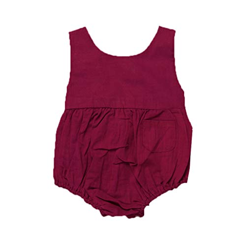 pollyhb Baby Romper, Infant Baby Boys&Girls Pure Color Bodysuit Backless Romper Sleeveless Clothes Wine ()