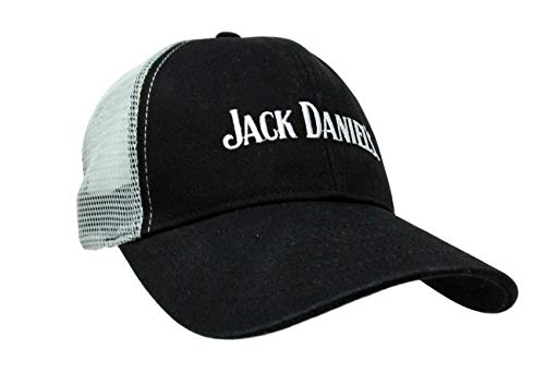Jack Daniel's Official Trucker Cap – 6-Panel Black and White Adjustable Trucker Cap with Classic Logo – White Embroidered Logo - White Mesh Backing - Plastic Snap Closure