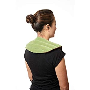 Dreamtime Spa Comforts Microwaveable Shoulder Wrap with Aromatherapy, Neck Shoulder Relaxer, Hot or Cold Neck Wrap Lavender and Peppermint Herbal Stress Relief, Green/Brown