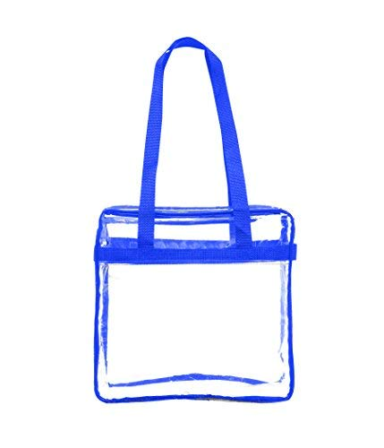 Clear Stadium Approved Tote Bag, for, Security Travel, Sports (Blue)