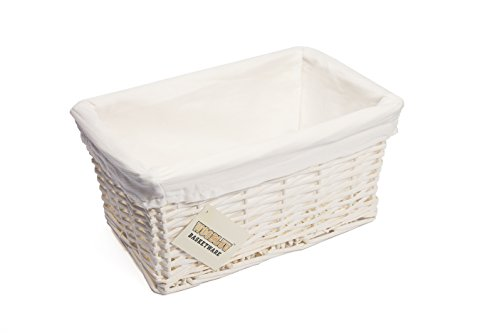 WoodLuv Small Wicker Storage Basket with Lining, White by Elitehousewares