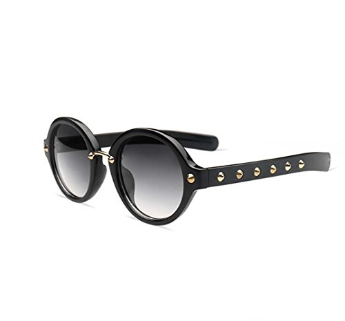 Shun Fat Rivet Retro Sunglasses Punk Glasses (Black color, - Sunglasses Fat Man