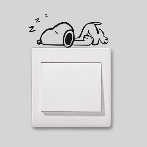 2X Niedliche Home Snoopy in ein Nickerchen Schö ne Muster Licht Schalter/Steckdose Aufkleber Schalter/Steckdose Dekoration Vinyl Decor Aufkleber Schalter/Steckdose Art tellMeo