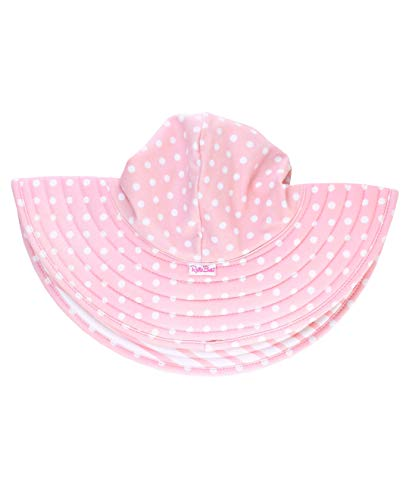 RuffleButts Baby/Toddler Girls Pink Polka Dot and Pink Stripe Reversible Swim Hat - 12m-2T (Stripe Cap Hat)
