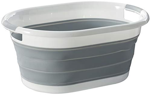 Homz Oval, White and Grey Collapsible Plastic Laundry Basket, ()