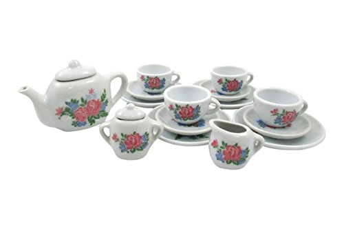 17 Piece Rose Flower Porcelain Ceramic Tea Set Pretend Play Kids Kitchen Playset