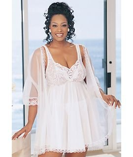 3-Piece Peignor Babydoll Set Plus Size
