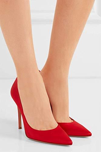 Bout Pointu Talon Red Pan 10cm Semelle Hauts satin Aiguille Rouge Caitlin Robe Diamants Femmes Chaussures Escarpins Talons de Classique Satin vx0wnRqBC8