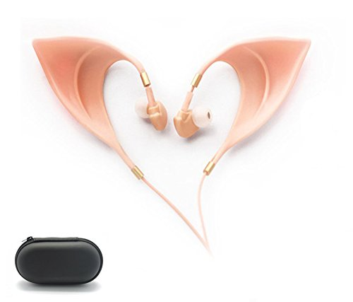 Elf Earbuds Headphones - SHREBORN Elegant Elves Ear Design Ultra-Soft Corded Earphone with Mic Perfect Sound Quality Fairy's Adorable Cosplay Headset Spirit Costume accessories ()
