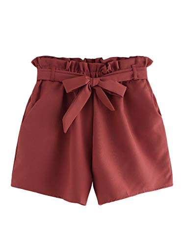 Milumia Women's Casual Elastic Waist Self Tie Waist Frill Trim Shorts with Pocket Red Small ()