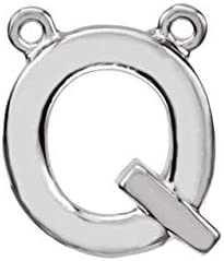 Sterling Silver Block Initial Q Necklace Center Initial Necklace Center