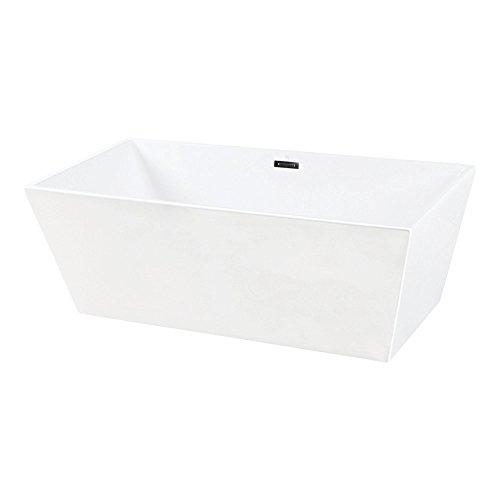 Kingston Brass VTSQ673224 Eden 67-Inch Freestanding Square Acrylic Tub with Drain White