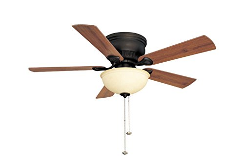 - Litex CSU44HRB5C1 Crosley Collection 44-Inch Ceiling Fan with Five Reversible Teak/Walnut Blades and Single Light Kit with Amber Glass