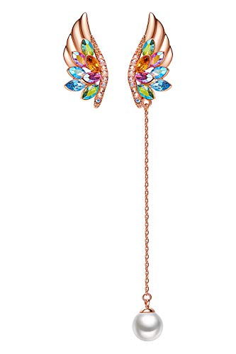 Angel Earrings Gold (CDE ''Birthstone Feather 18K Rose Gold Plated Swarovski Crystals Womens Earrings Angel Wings Fashion Jewelry Earrings Studs Gift for Mothers Day)
