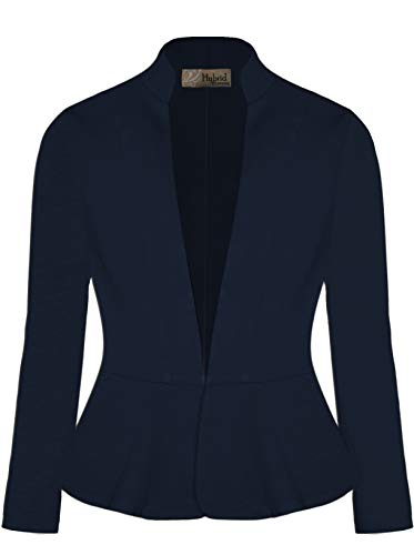 (HyBrid & Company Women Super Comfy Ponte Office Blazer-JK1135-1073T-NAVY-M)
