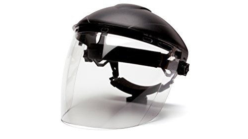 Pyramex Safety Full Face Shield Eye & Head Protection (Headgear Not Included), Clear Tapered Polycarbonate - ANSI Z87+