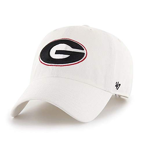 '47 NCAA Georgia Bulldogs Mens Clean Up Adjustable Hat Clean Up Adjustable Hat, White, One Size