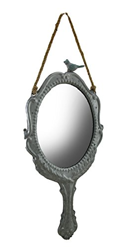 Metal & Glass Wall Mounted Mirrors 17 Inch Silver Finish Victorian Inspired Hand Mirror Wall Decor W/Rope Hanger 8 X 17.5 X 0.5 Inches Silver (Victorian Mirror Wood)