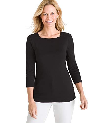 Chico's Women's Supima Cotton Side-Button Bateau-Neck Top Size 0/2 XS (00) Black ()