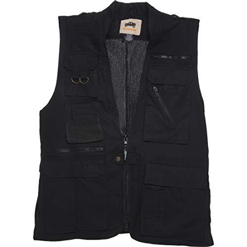 Humvee HMV-VS-BK-L Large Cotton Safari Vest with Extra Pockets, Black (Golf Cotton Vest)