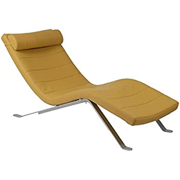 eur style gilda leatherette chaise lounge chair with shiny base saffron