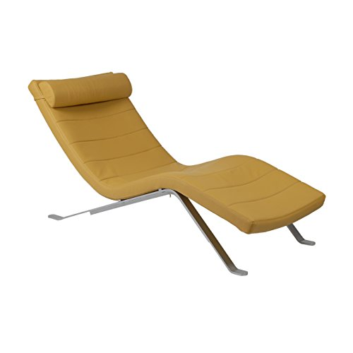 Eurø Style Gilda Leatherette Chaise Lounge Chair with Shiny Base, Saffron