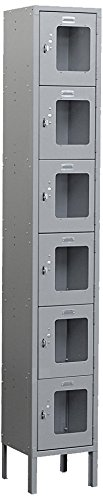 Salsbury Industries S-66168GY-U Six Tier Box Style 12-Inch Wide 6-Feet High 18-Inch Deep Unassembled See Through Metal Locker, Gray