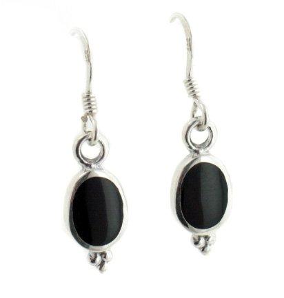 Simple Elegant Black Onyx Sterling Silver Hook Earrings